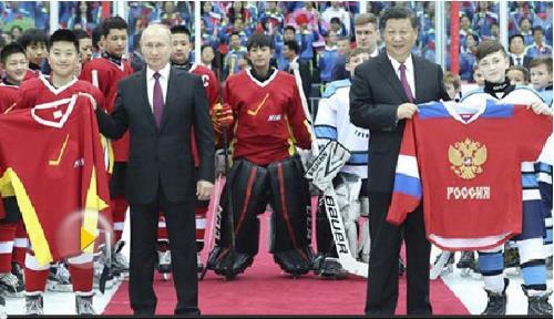 푸틴 대통령과 시 주석의 아이스하키 경기 관람[중국 앙시망 캡처]