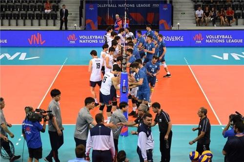 한국과 아르헨티나 남자 배구대표팀