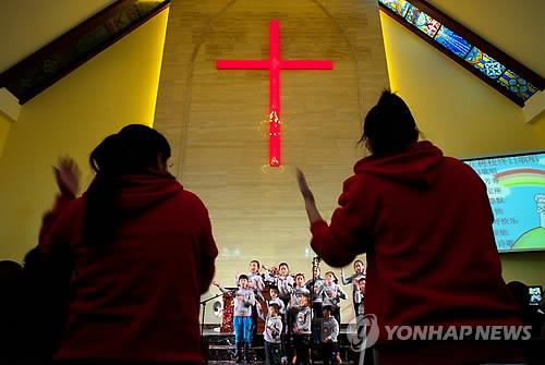 중국 시골 교회의 예배 [EPA=연합뉴스 자료사진]
