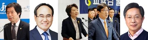 전북교육감 후보. 좌로부터 김승환·서거석·이미영·이재경·황호진