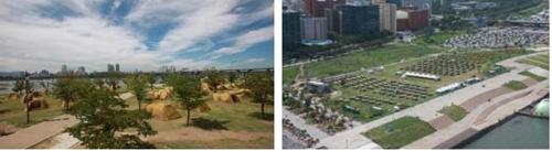 뚝섬 캠핑장(왼쪽)과 여의도 캠핑장 전경 [서울시 제공]