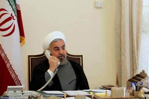 전화통화하는 하산 로하니 이란 대통령[이란대통령실]