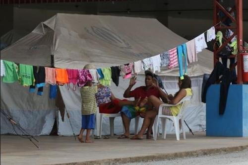 보아 비스타 시에 체류 중인 베네수엘라 난민들 [국영 뉴스통신 아젠시아 브라질]