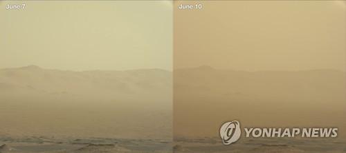 큐리오시티가 찍은 7일과 10일의 모래폭풍 사진