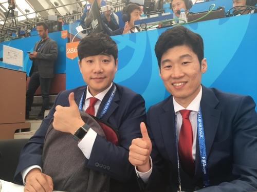 축구 해설가로 데뷔한 '영원한 캡틴' 박지성(오른쪽)과 배성재 캐스터