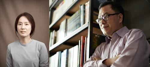 제4회 김현문학패 수상자인 시인 신영배(왼쪽)와 소설가 백민석(오른쪽)