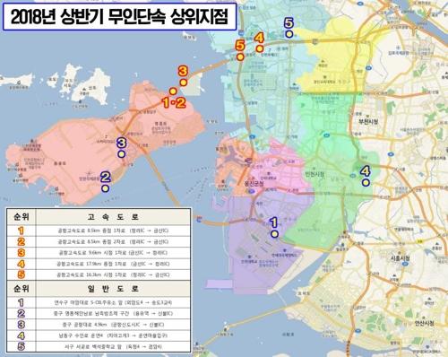 과속 단속 적발 상위 10곳 지점 [인천지방경찰청 제공=연합뉴스]