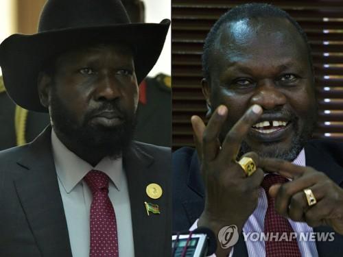 키르 남수단 대통령(왼쪽)과 마차르 반군 지도자[AFP=연합뉴스 자료사진]
