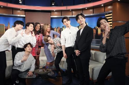 미국 토크쇼 '굿데이 뉴욕'에 출연한 갓세븐 [JYP 제공]