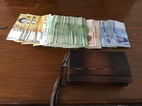장 씨가 잃어버린 현금과 지갑