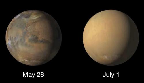 NASA, 화성 통째로 집어삼킨 모래폭풍 사진 공개
