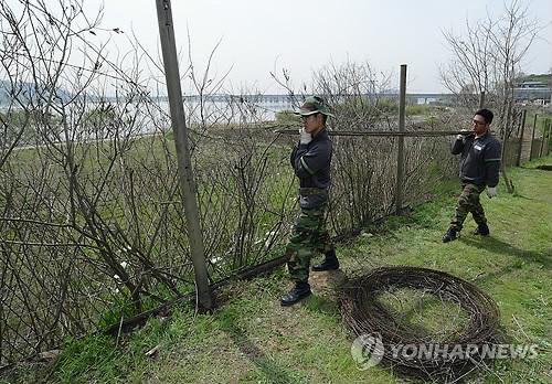한강하구 군부대 철책 제거[연합뉴스 자료사진]