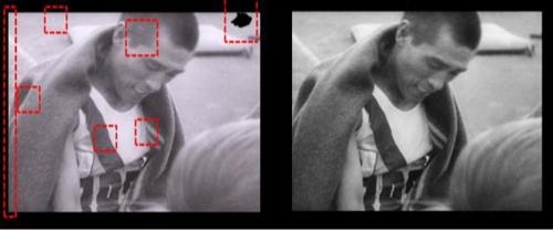 디지털로 복원된 영화필름의 한 장면