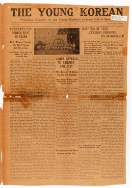 미국에 대한민국 독립 지원을 호소하는 1922년 1월 7일자 '더 영 코리안' 신문