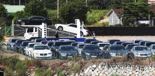 평택으로 이동 중인 BMW 리콜 차량