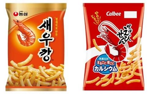 농심 '새우깡'(왼쪽)과 가리비 사의 '갓파에비센'[각사 홈페이지 캡처=연합뉴스]