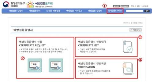 영문 예방접종증명서 27일부터 온라인 무료 발급