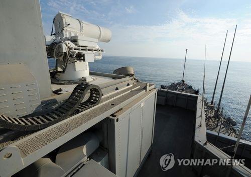 상륙함 폰스에 설치된 미 해군의 레이저무기