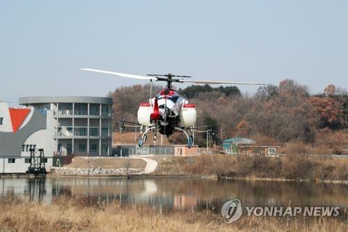 방제에 투입된 무인헬기[연합뉴스 자료사진]