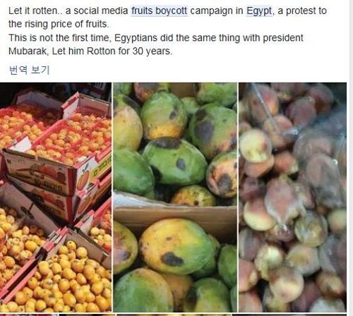 이집트에서 과일 불매운동[페이스북 캡처]