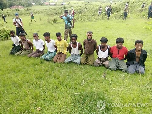 미얀마군과 불교도들에 의해 집단 처형된 로힝야족[로이터=연합뉴스 자료사진]