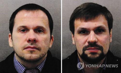 '스파이 암살시도' 혐의로 기소된 페트로프(왼쪽)와 보쉬로프 [PA=연합뉴스]