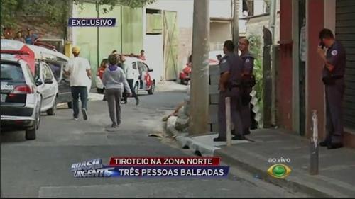 총격전 소식을 전하는 브라질 TV 반데이란치스 방송