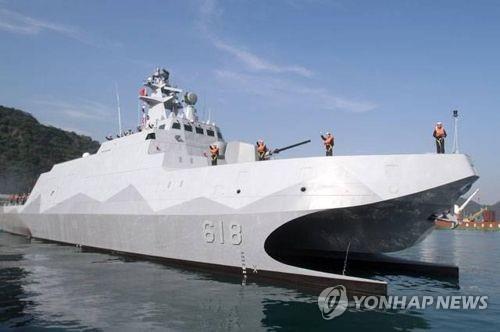 대만 자체 개발한 스텔스고속함 '퉈장함'[연합뉴스 자료사진]