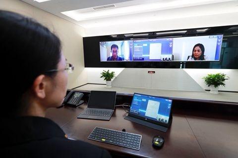베이징 인터넷 법원의 모의 화상재판 [베이징 인터넷 법원 제공]