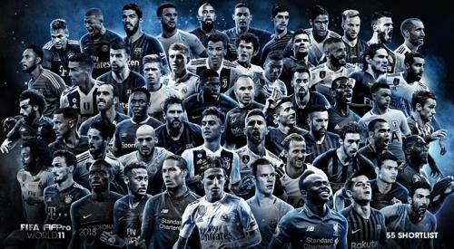 FIFA-FIFPro 베스트 11 후보 55명 발표…호날두 13년째 포함
