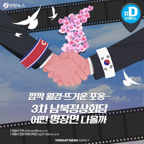 [카드뉴스] 깜짝 월경·뜨거운 포옹…3차 남북정상회담 어떤 명장면 나올까