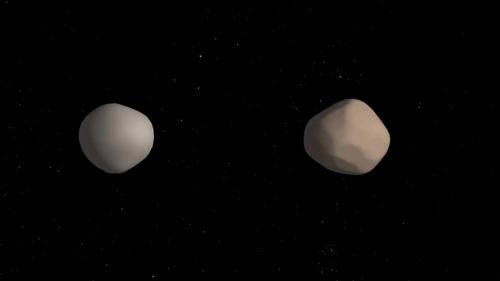 서로 공전하는 쌍으로 된 소행성 이미지