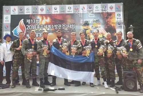 페인트볼 경기 우승한 에스토니아 [세계소방관경기대회 추진단 제공]