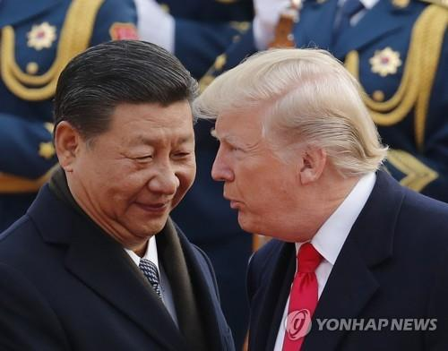 중국을 방문한 트럼프 미 대통령 환영하는 시진핑 국가주석 AP=연합뉴스 자료사진