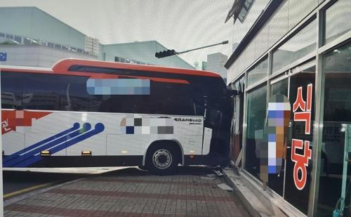 사고후 인근 건물 벽면 들이받은 통근버스