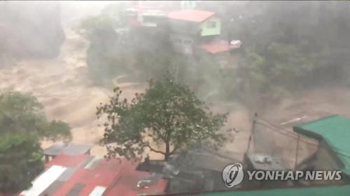 태풍 망쿳이 뿌린 폭우로 물바다가 된 필리핀 바기오시[로이터=연합뉴스]