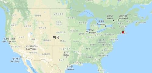 인데버호가 침몰한 미국 동부 로드아일랜드 지역(붉은색 점표시)[구글지도 캡처]