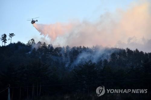 산불 진화하는 산림 헬기
