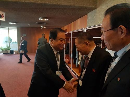 文의장, IPU총회서 北리종혁 면담…남북국회회담 논의