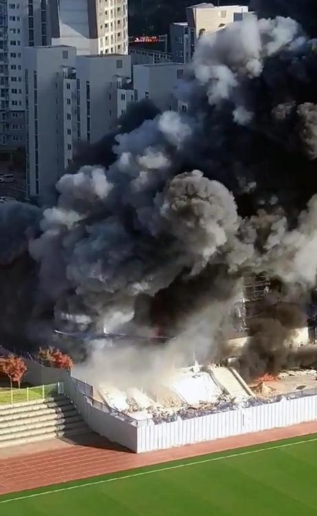 대전 관저다목적체육관 신축 공사장서 불…11명 부상(종합)