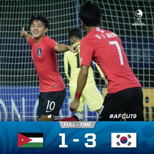 U-19축구대표팀, AFC챔피언십 요르단전 3-1 승리…조 선두