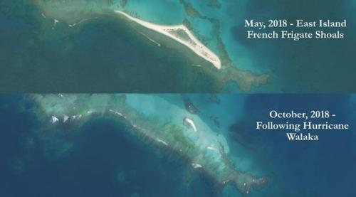 허리케인에 사라진 하와이제도 작은섬