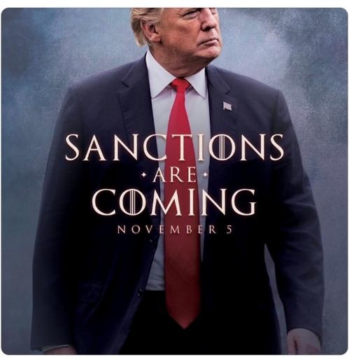 트럼프, 드라마 왕좌의 게임 본뜬 포스터로 이란 제재 예고
