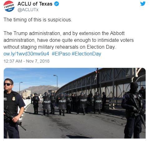 美 국경순찰대 투표일에 군중진압 훈련 하려다 취소