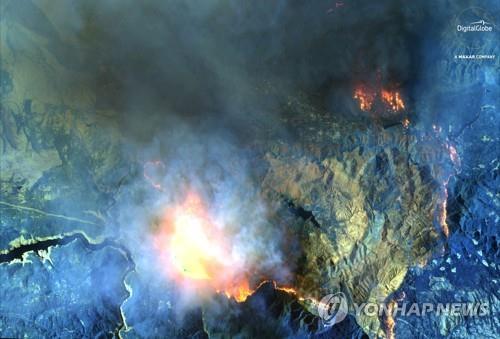 캘리포니아 캠프파이어 위성사진