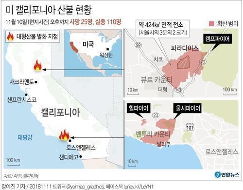 美 북캘리포니아 산불 사망자 42명…단일산불 최대 인명피해(종합)