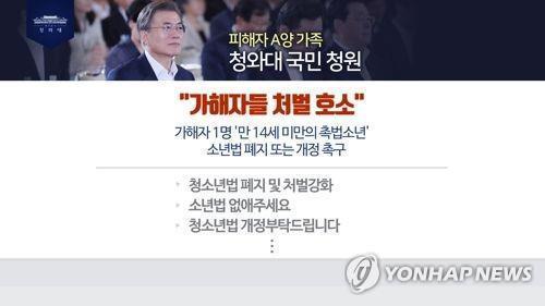 """靑 '인천여중생 사건 처벌 청원' 답변…""""소년법-국민감정 괴리"""""""