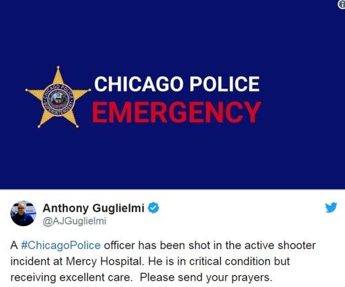 美 시카고 병원서 총격사건…경찰관 1명 중태