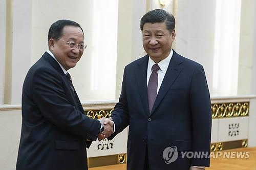 """시진핑, 北리용호에 """"남북 관계개선·화해협력 지지""""(종합)"""