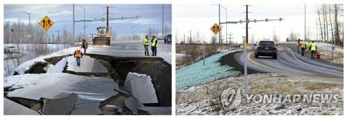 美 알래스카 강진에 푹 꺼진 도로, 불과 며칠만에 말끔 복구
